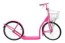 "20"" Adult SCOOTER in HOT PINK - Amish Kick Foot Bike Basket Brakes Racing Wheels"