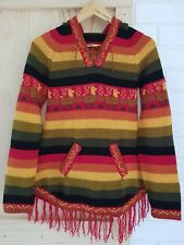 Womens Alpaca Sweater Hoodie Size 8 10 Handmade Peru Multicoloured Black Red