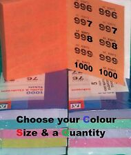 Raffle cloakroom tickets, pick colours 1000 500 400 books draw easy tear tombola