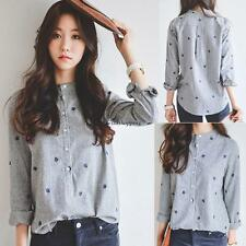 Korean Fashion Women Long Sleeve Casual Buttons Blouse T-shirt Tops S M L XL