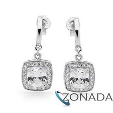 New Classic Natural 6X6MM SimulatedDiamond 925 Sterling Silver Drops Earrings