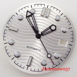 31mm Nologo Silver Automatic Watch Dial Hand Set fit NH35A Date Window Luminous