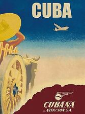 Cuba Cuban Cubana Aviacion Vintage Travel Airlines Advertisement Poster Print