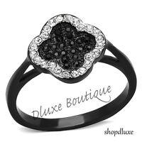 Women's Round Cut CZ Black Stainless Steel Irish Clover Fashion Ring Size 5-10