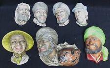 Lot of 7 Vintage Bosson Chalkware Heads Wall Art England