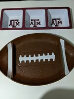 Football Shaped Serving Platter Texas A & M Dip Tray