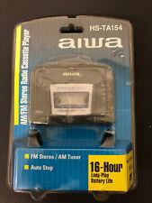 New AIWA HS-TA154 Portable AM/FM Radio Cassette Player & Headphones Walkman Vtg