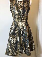 Jennifer Lopez Animal Print Fit Flare Exposed Gold Zipper Dress Size 6 Leopard