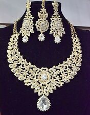 New Indian Bollywood Costume Jewellery Necklace Earring Set Gold Bridal Tikka