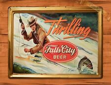 "TIN-UPS TIN SIGN ""Falls City Beer"" Garage Rustic Fishing Wall Decor"