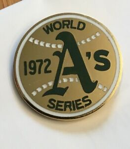 1972  Oakland A's World Series Press Media Pin.   Tough Pin To Find