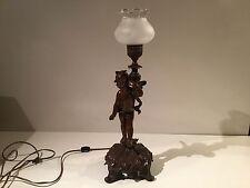 Spelter Bronze Finish Cherub Cupid Angel Putti Electric Lamp