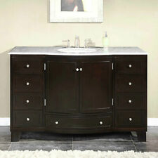 """Freestanding dark wood clean with top,splash, and faucet. Cream colored top 48"""""""