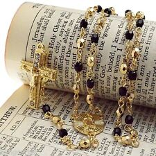 Oval Virgin Mary Rosario Virgen De Guadalupe Crucifix Black & Gold Beads Rosary