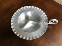 Vintage  Floral Hammered Aluminum Tidbit 3 Compartment Tray Dessert Server