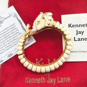 Kenneth Jay Lane KJL White Raj Elephant Bangle Bracelet