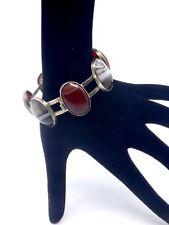 Bracelet Ecossais ancien en argent massif et agate XIXeme pierre dure
