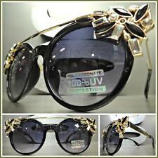 CLASSIC VINTAGE RETRO CAT EYE Style SUN GLASSES Black & Gold Frame Huge Crystals