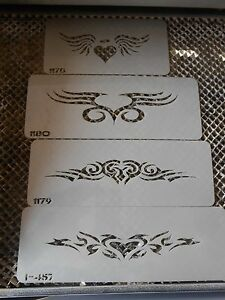 Airbrush Temporary Tattoo Stencil 218 Heart Lowerback Band New by Island Tribal!