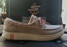 Skechers Women's Boat Shoe Lightweight Goga Mat insole Natural Size 10