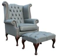 Chesterfield Queen Anne High Back Wing Chair Silver Grey Leather + Footstool