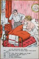 Risque/Nude/Topless Woman & Frustrated Man 1920s French Postcard
