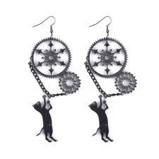 Funny Vintage Acrylic Punk Black Long Dangle Creative  Steampunk Cat Earrings