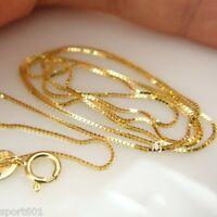 """Au750 Solid AU750 18K Yellow Gold Necklace / Fine Box Chain 15.7"""" L"""