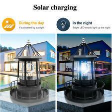 Solar Powered LED Rotating Lighthouse Light Garden Lawn Lamps Yard Outdoor Decor