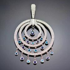 Di MODOLO NECKLACE TEMPIA PENDANT DIAMOND, BLUE TOPAZ & SAPPHIRE 18K WHITE GOLD