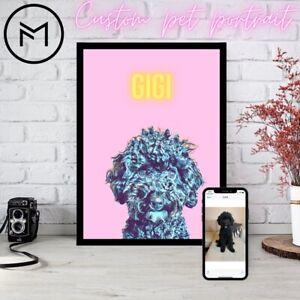 Custom pet portrait, poster or framed print, free worldwide shipping.
