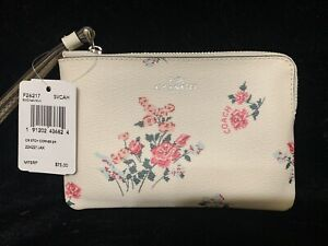 "Coach  Pink Floral Print Ivory Wristlet 6"" X 4"" F26217 NWT"