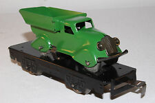 1930's Marx O Gauge Flat Car with Dump Truck Load, Green, Restored Lot # 1