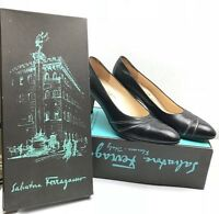 "Vintage Salvatore Ferragamo Women's Black Leather Pumps 3"" Heels Size 7.5 AA"
