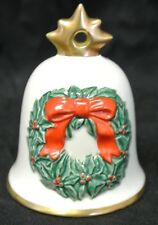 1986 Goebel Hummel Annual Christmas Bell Ornament Green Wreath and Bow. White