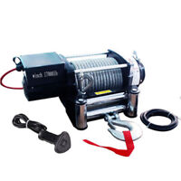 G Universal 17000LB Electric Recovery Winch 12V Volt Steel Cable Rope Towing Kit