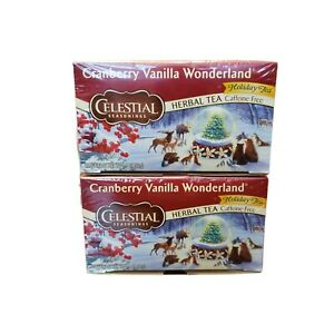 2 Celestial Seasonings Cranberry Vanilla Wonderland Holiday Tea 20 Bags p/Pack