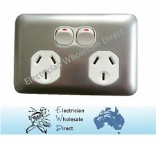 Slimline Double Power Point Wafer Slim Outlet GPO White Silver Electrical