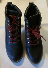 """Dirty Laundry Size 9 Boots Black Red Lace Up Some Wear 3.5"""" Heels Block *Defect"""