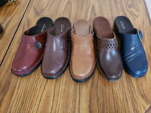 5 Pairs Clarks 8 M Slip On Wedge Healed Mules Buckle Blue Brown Burgundy Taupe