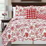BOON Paisley Flower Reversibel 4 Piece Quilted Coverlet Bed Spread Set