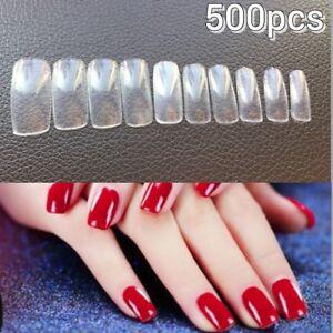 500pcs Clear Acrylic Gel DIY Nail Art Full False Finger Nail Art Tips Clear