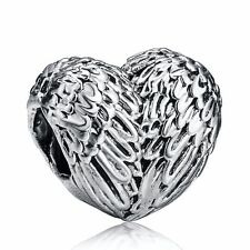 Silver Plated Bead Charm Love Heart Angelic Feathers Anchor Family Beads Fit PD