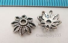 6x BALI OXIDIZED STERLING SILVER FLOWER BEAD CAP 8.6mm #2452