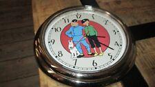 Tintin&Démons et merveilles-Horloge inox 30 cm-Le Lotus Bleu-Fonctionne-1995-