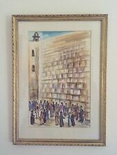 "Listed Romanian Israeli David Gilboa Original Watercolor ""Wailing Wall"" C.1955"