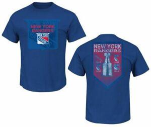 NHL T-Shirt New York Rangers Ny Conquest Blue Vintage Ice Hockey Majestic