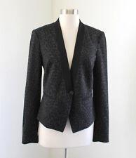 Ann Taylor Loft Gray Black Leopard Print Tuxedo Blazer Jacket Size 4 Cheetah