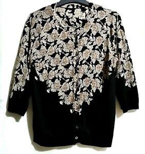 Floral Printed Black Cardigan