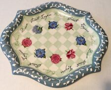Shabby Large Chic Inspirational Blue White Serving Platter Tray Dish Floral